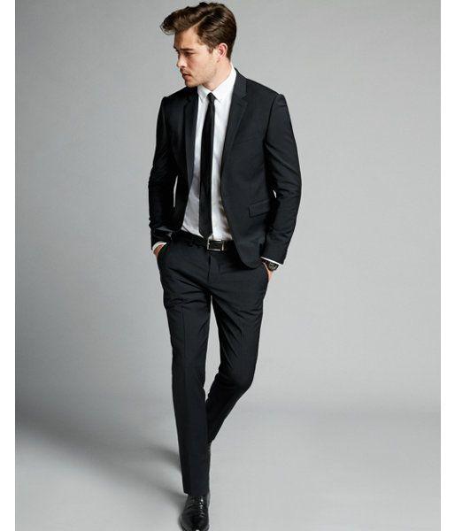 Express Mens Extra Slim Black Performance Stretch Wool-Blend