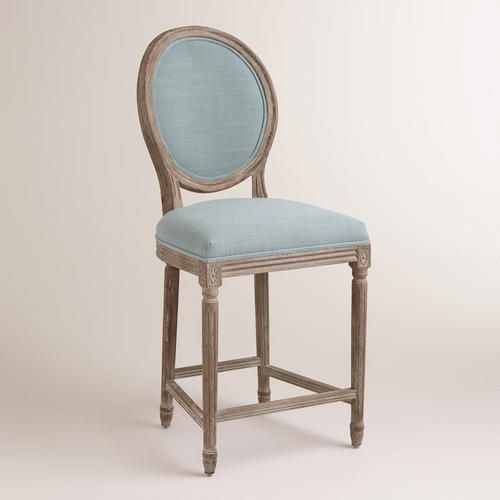 Blue Linen Paige Counter Stool Fabric By World Market