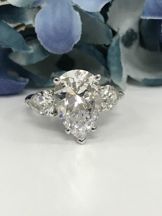 0fd0347b807fc Pear Shape with Pear Accents 5.50 ctw. Russian Cut Engagement ...