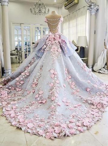 Pretty Light Blue Ball Gown Long Backless Wedding Gowns PM357 92ce6daa8a99