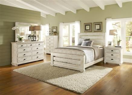 Willow Casual Distressed White Wood 5Pc Bedroom Set Wking Slat Fair Wood Bedroom Sets Inspiration Design