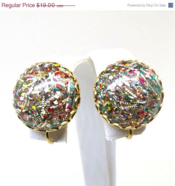 Confetti Earrings Vintage Gold Tone Sarah Coventry Designer