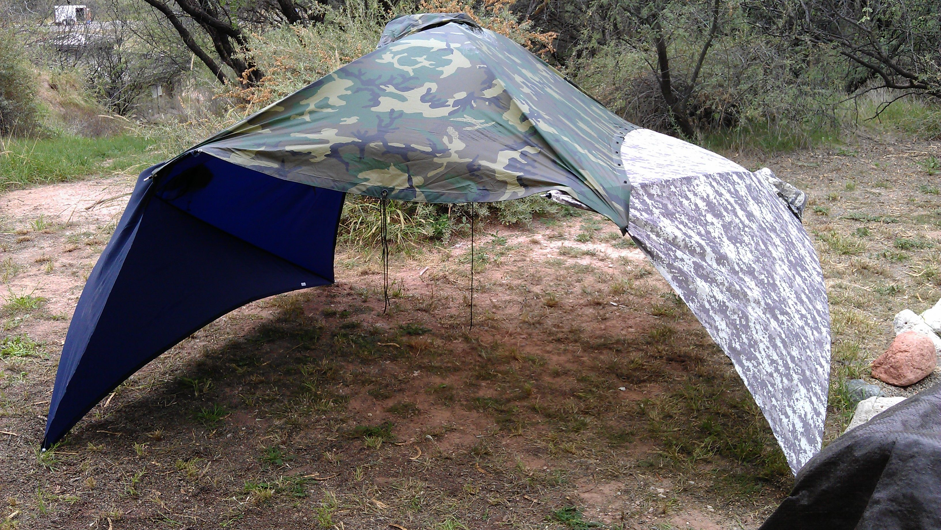 Here is three Alpha poncho tents put together. It gives more than &le cover for : cover it tents - memphite.com