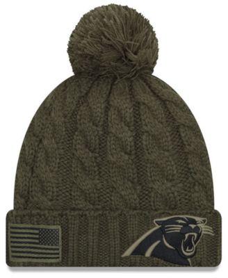 New Era Women s Carolina Panthers Salute To Service Pom Knit Hat - Green  Adjustable a69cf07f7