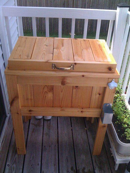 This Patio Cooler Stand Is Made From Cedar Decking It Holds A 48 Quart Igloo The Top Hinged And Cover Mounted Within