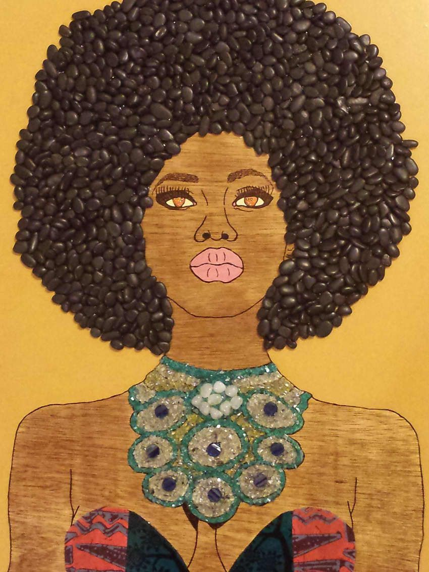 Black women art afro queen woodburning by faceofnubia