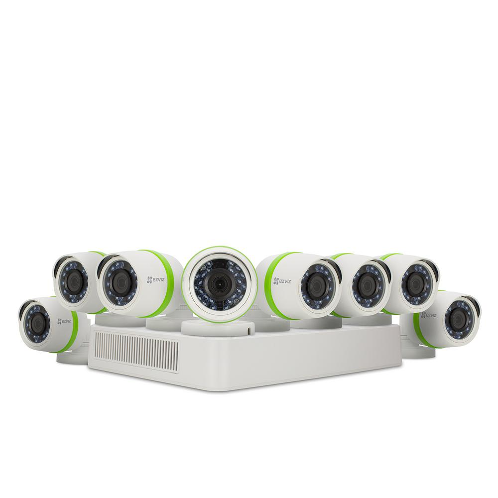 Ezviz Security System Hd Cameras 8 Channel 1080p 2tb Dvr Hdd Surveillance System With Night Vision And Alexa Using Ifttt Bd 2828b2 The Home Depot Security Cameras For Home Wireless Home Security Systems