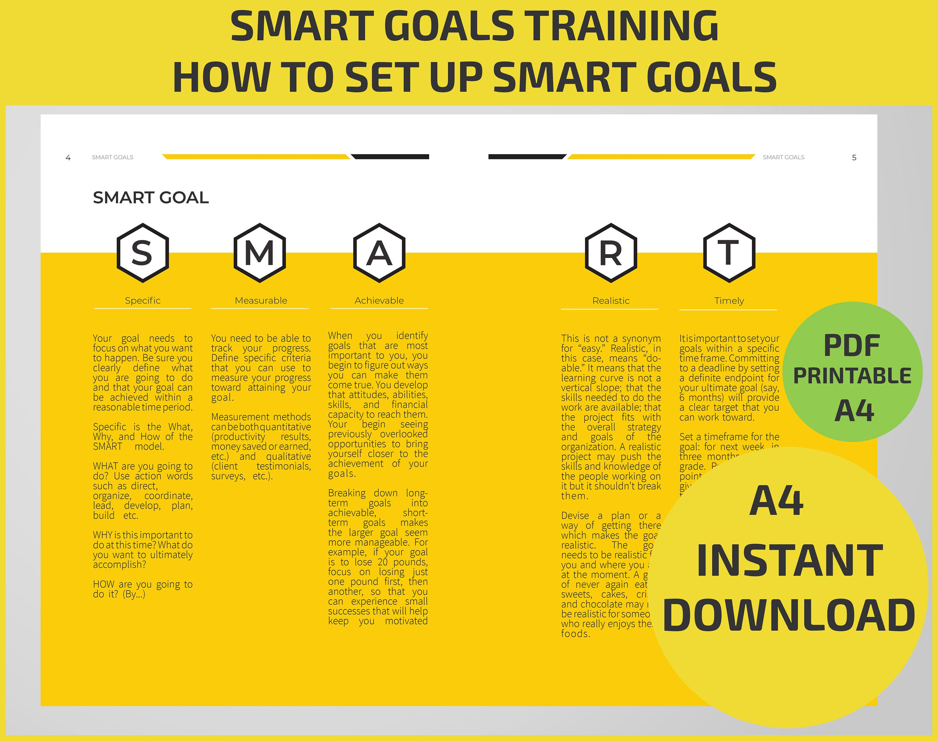 Making Smart Goals Training Worksheet Examples Explain