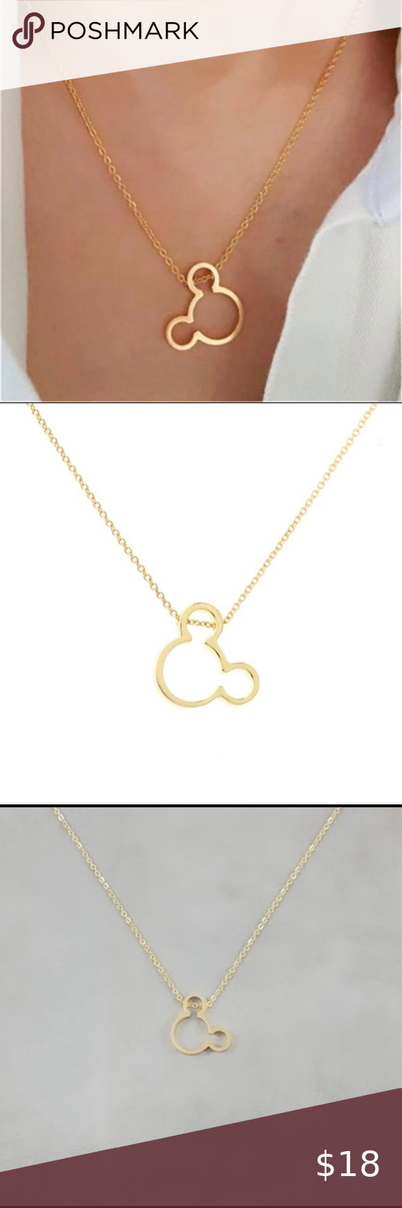 Photo of 🔥NEW! Gold Mickey Mouse Necklace 18 inches with 2.5 inch extender Material Co…