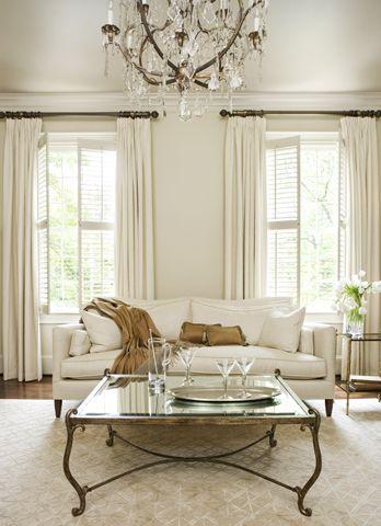 Custom Linen Sofa Antique French Chandelier Stark Rug