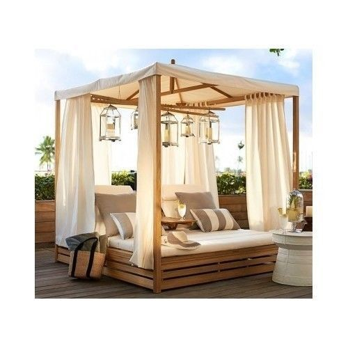 Outdoor Patio Chaise Daybed Canopy Lounge Chair Teak Wood Garden