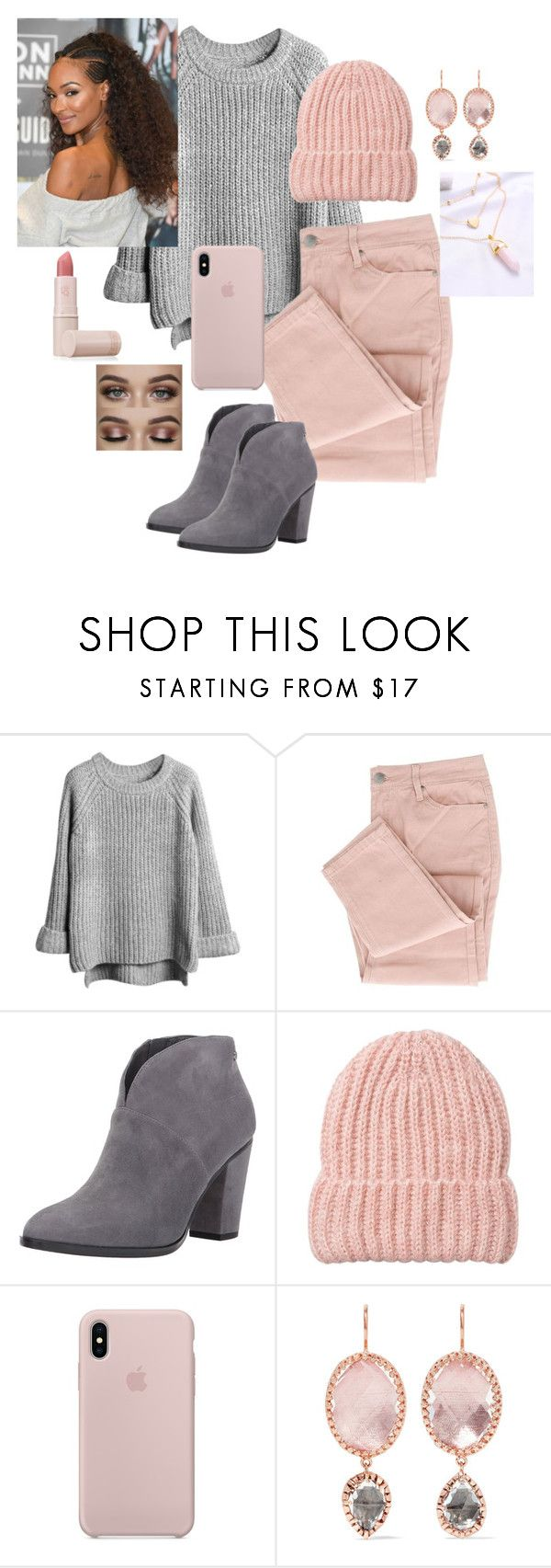 """""""Fall #2"""" by artisticstyler ❤ liked on Polyvore featuring Larkspur & Hawk, Herz, Lipstick Queen, beanies, ankleboots, pinkandgray, Oversizedsweaters and fall2017"""