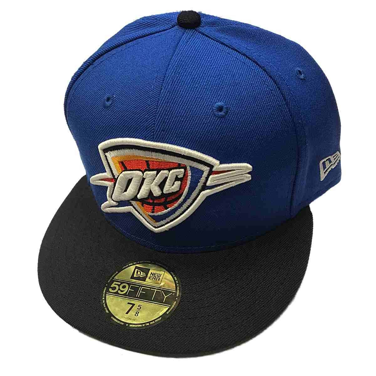 ca5c5e6e45d Oklahoma City Thunder New Era Blue 59Fifty Flat Bill Fitted Hat Cap ...