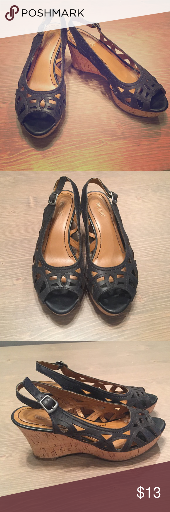"""Nicole leather wedges Leather sling back wedges. 3"""" heel Nicole by Nicole Miller Shoes Wedges"""