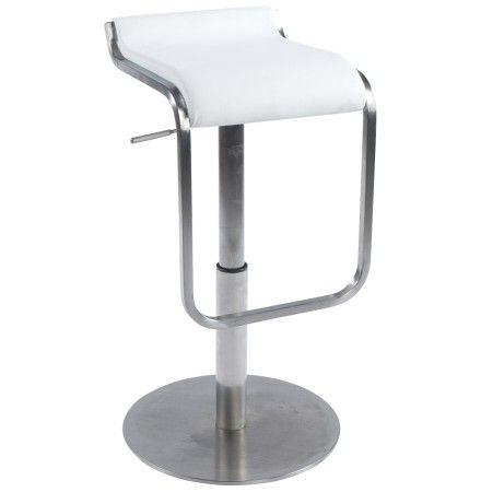 Design barkruk 'ASTRO' uit wit imitatieleder en geborsteld staal LEM-style