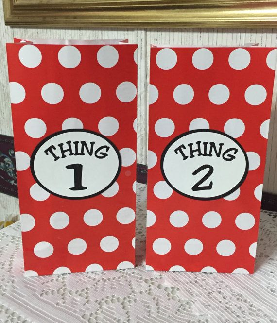 FREE SHIPPING  10 Dr Seuss Thing 1 Thing 2 by partytimeindayton
