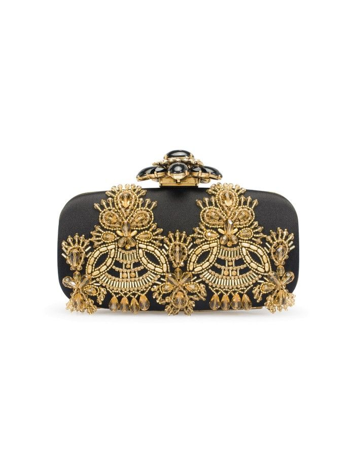 ee5518a3b4 Black & Gold Embroidered Satin Goa Clutch - Must-Haves - New Arrivals