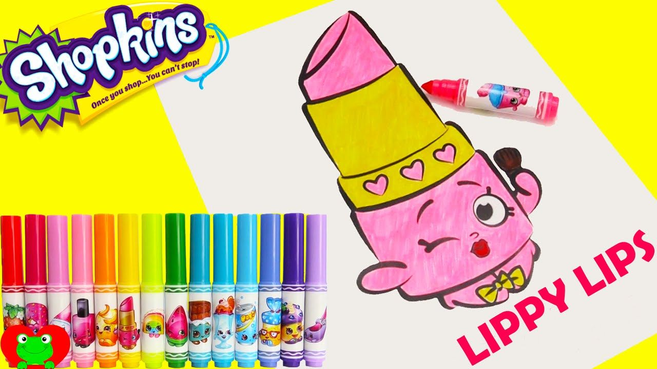 Shopkins Crayola Markers And Lippy Lips Coloring Page Toy