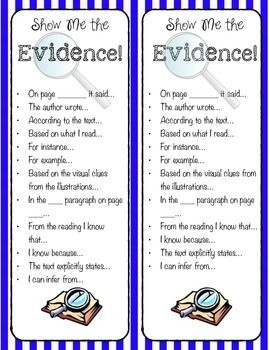 Show Me The Evidence Sentence Starter Bookmark Text Citing Paraphrase Starters