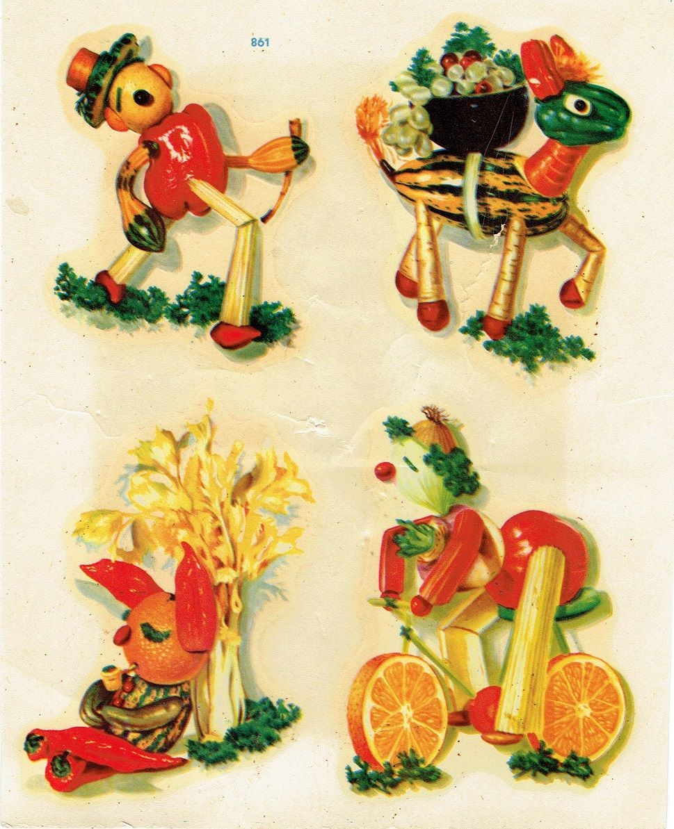 A Kitchen With Vintage Character: C. 1940's/1950's Meyercord Anthropomorphic Vegetable