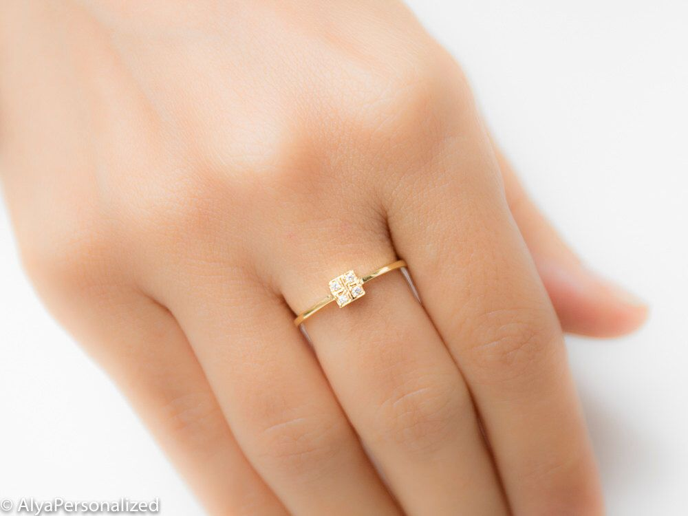 Anniversary Gift For Wife Square Diamond Ring Geometric Ring