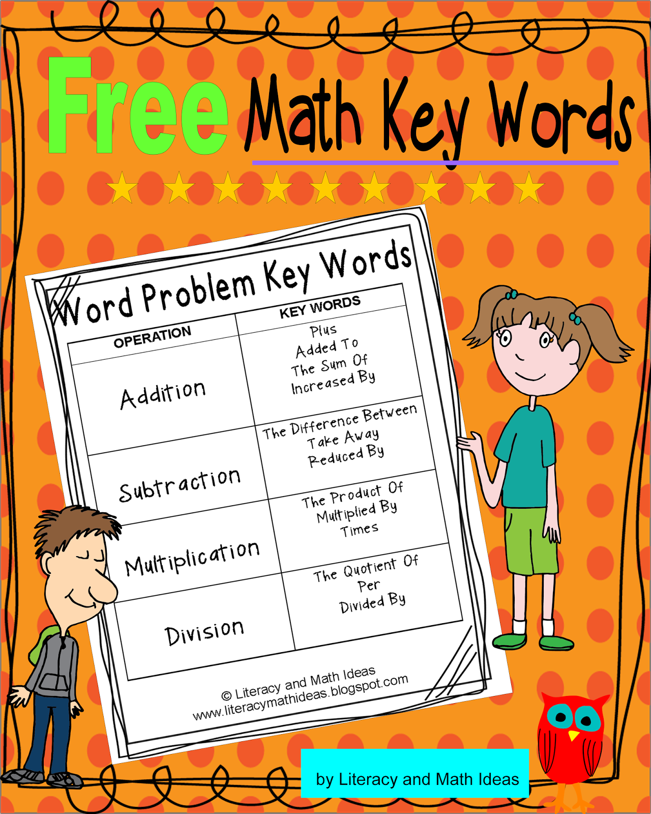 Free~Math Operation Key Words Handout | Teaching Ideas for 3rd - 5th ...