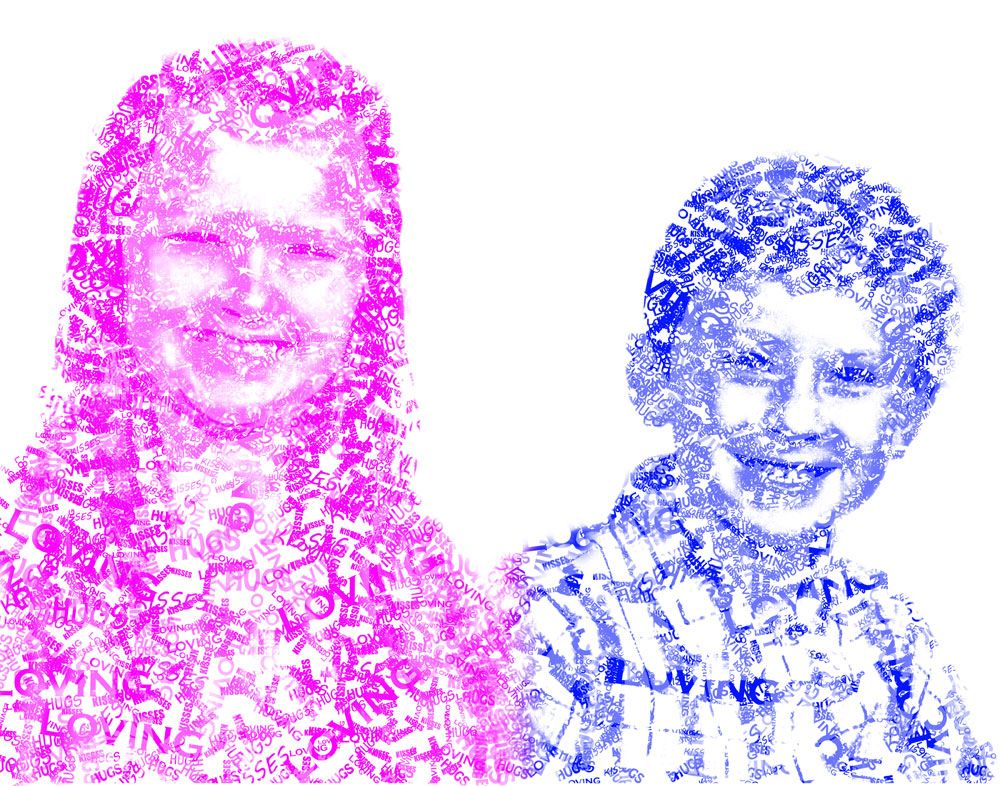 Picture of my kids done with the words Loving, Kisses, and Hugs. Done in Photoshop. This was my Mother's Day gift to my wife.