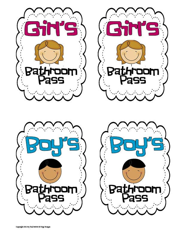 Toilet Clipart Pass 6 Bathroom Pass Classroom Passes 2nd