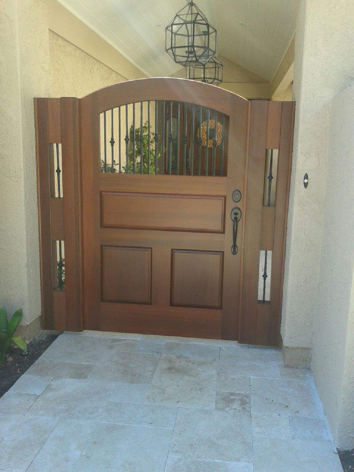 custom transitional style wood gate by garden passages with raised