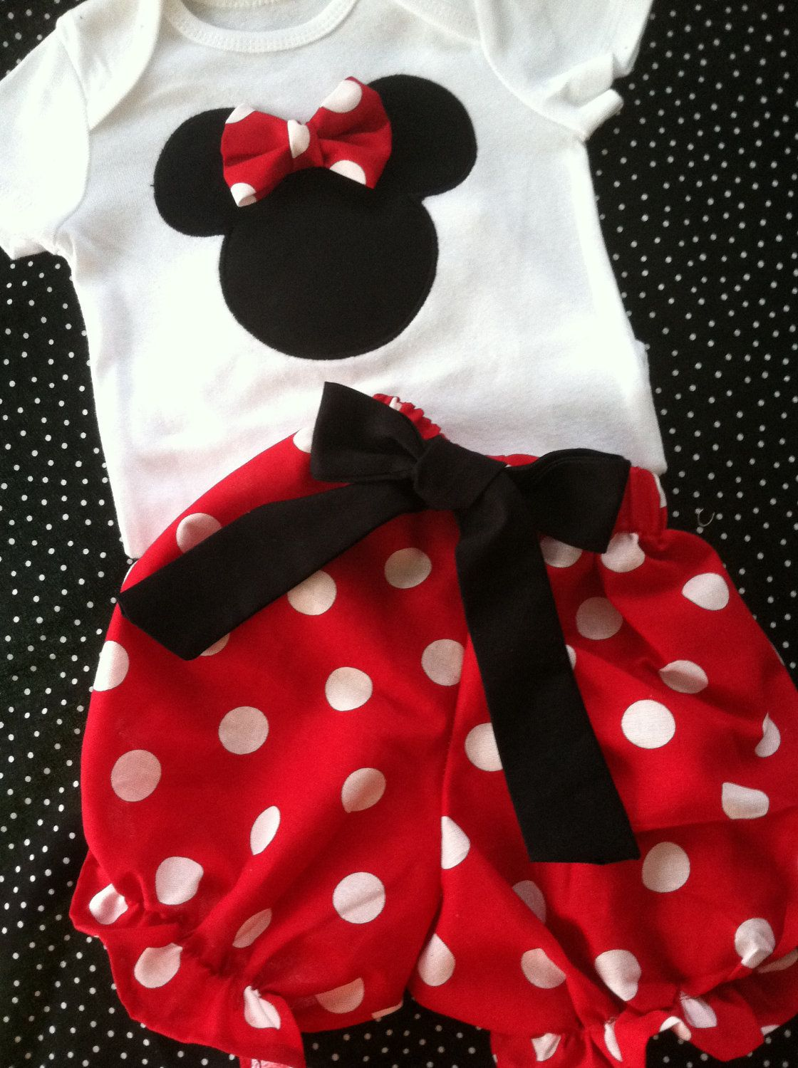 61c04017e6f3 Beautiful Minnie Mouse polka dot red bubble bloomers and onesie ...