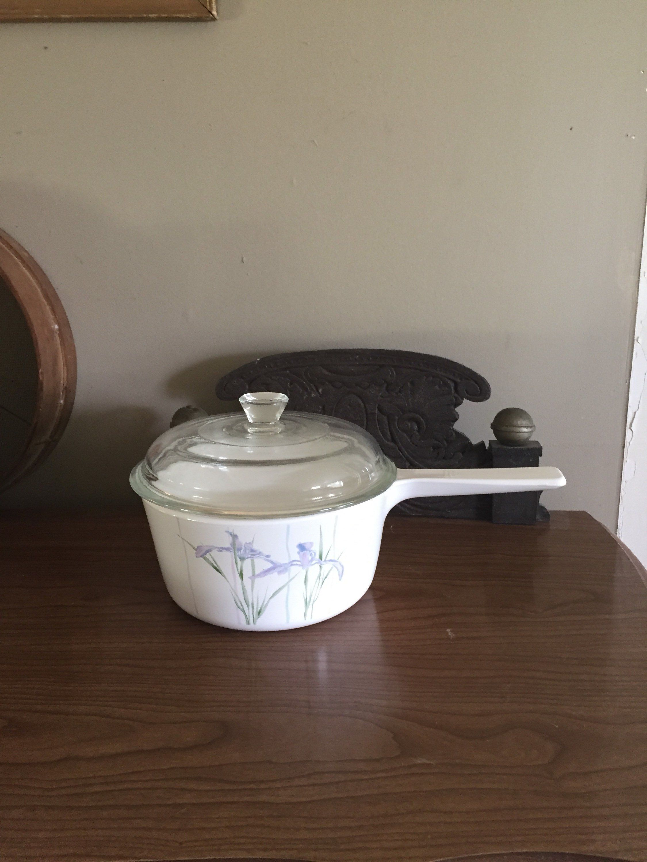 Vintage Corningware Corelle Shadow Iris Pyrex Glass Lid Stove Top Microwave And Oven Safe Deep Creek Shabby Dec Shabby Decor Pyrex Glass Lavender Kitchen