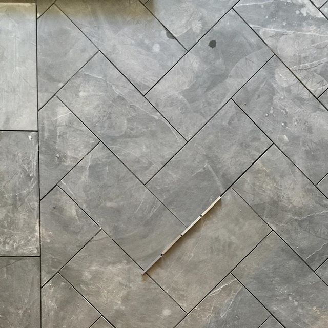Studio Mcgee On Instagram Pardon The Dust But You Can Still See How Awesome These Slate Herringbone Floors Will Herringbone Floor Flooring Herringbone Tile