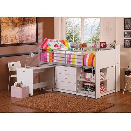 Savannah Storage Loft Bed With Desk White Walmart Com Lily