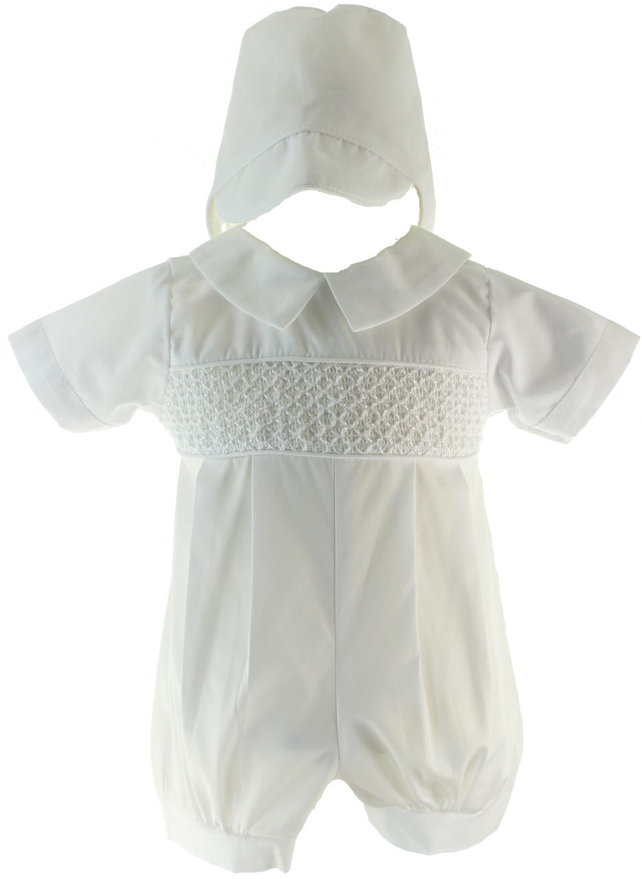 2979b9bad Hiccups Childrens Boutique - Boys White Smocked Christening Romper with  Hat, $44.00 (https: