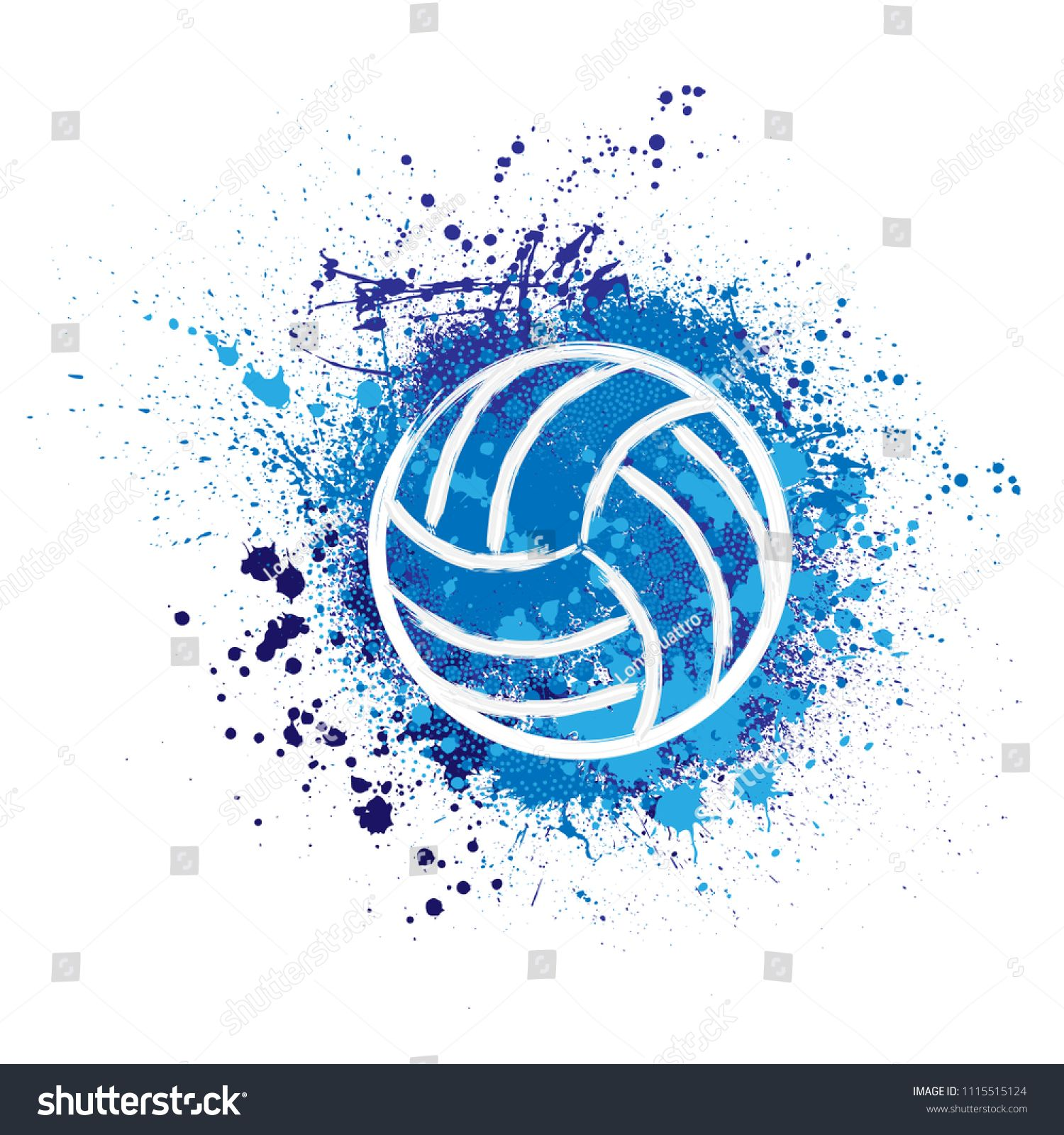 White Grunge Volleyball Ball Blue Ink Royalty Free Image Vector In 2020 Volleyball Wallpaper Volleyball Backgrounds Volleyball