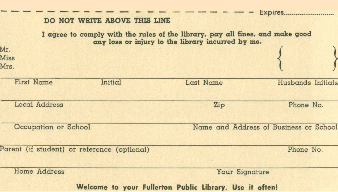 An old library card application. Library card, Old