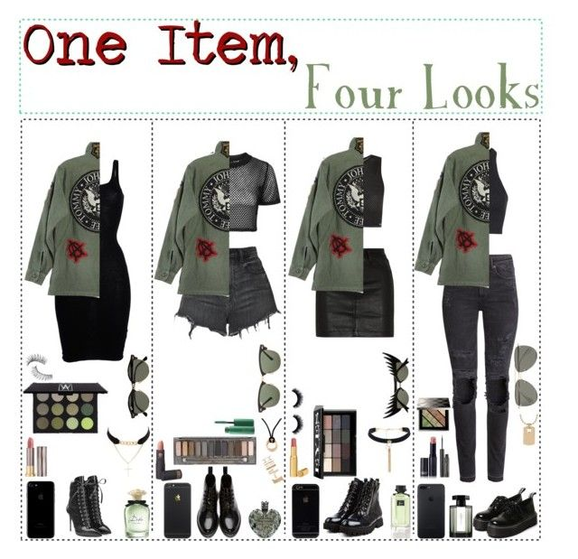 One Items, Four Looks by sonnet-xo on Polyvore featuring polyvore fashion style Gentryportofino Topshop Blue Man H&M Alexander Wang rag & bone/JEAN Dr. Martens Giuseppe Zanotti Charlotte Russe Rebecca Minkoff Cartier Forever 21 Le Specs Ray-Ban Bobbi Brown Cosmetics Urban Decay Burberry Lipstick Queen MAC Cosmetics Too Faced Cosmetics Elizabeth Arden Trish McEvoy Dolce&Gabbana Gucci Vera Wang L'Artisan Parfumeur clothing