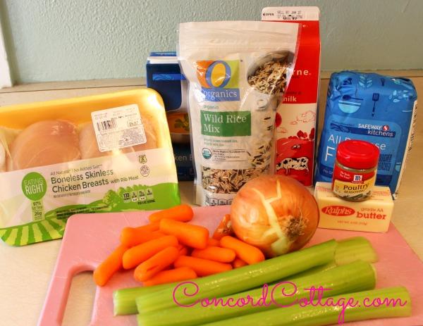 Crockpot Chicken & Wild Rice Soup Ingredients.  Yummy and Delish.  #Crockpot #Crockpot Recipes