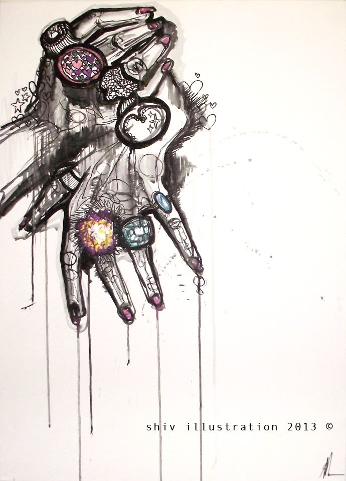 Large hands canvas. Acrylic paint and inks. £225.