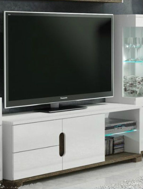 High Gloss Tv Stand Media Display White Unit Lounge Furniture Led Lights Cabinet