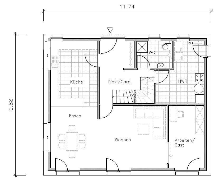 Passivhaus grundriss erdgeschoss wohnen pinterest for Grundriss einfamilienhaus erdgeschoss