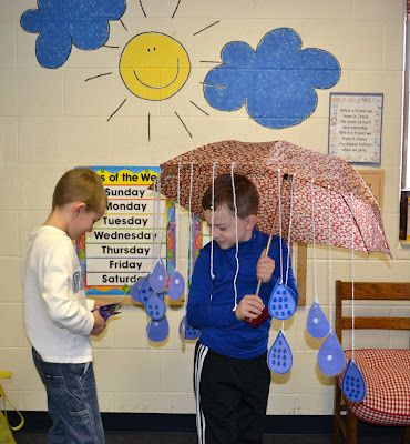 Each child cuts off a raindrop, counts the dots and places it under the correct number on the board.