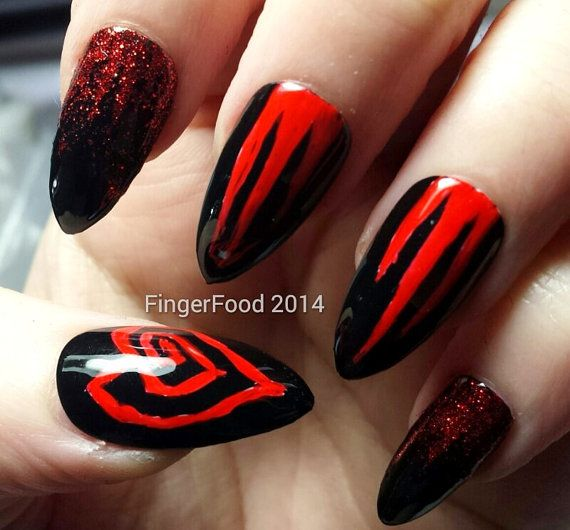 Hand painted Marilyn Manson nails by FingerFoodNails on Etsy