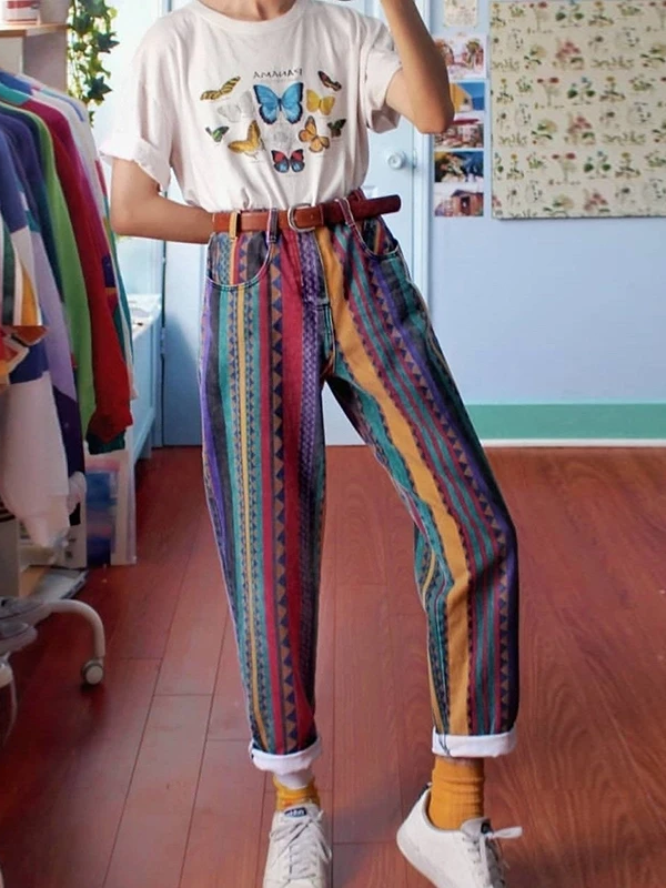 Women Fashion Multicolor Striped Geometry Straight Pants