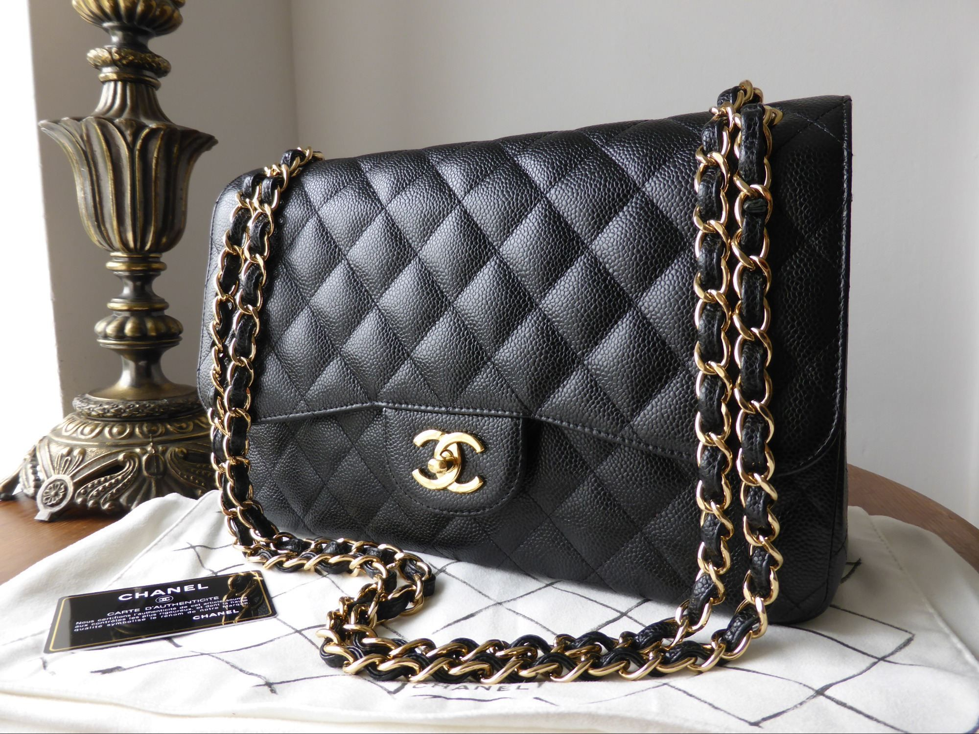 Chanel Timeless Classic 2 55 Jumbo Flap Bag In Black Caviar With Gold Hardware