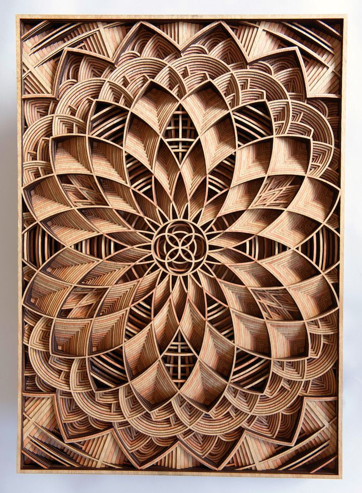 Amazingly intricate laser cut wood relief sculptures by gabriel