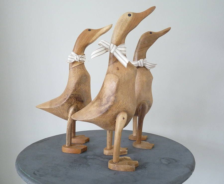 Wooden Vintage Hand Crafted Duck 3 Piece Duck Set Carved Bamboo Root NEW