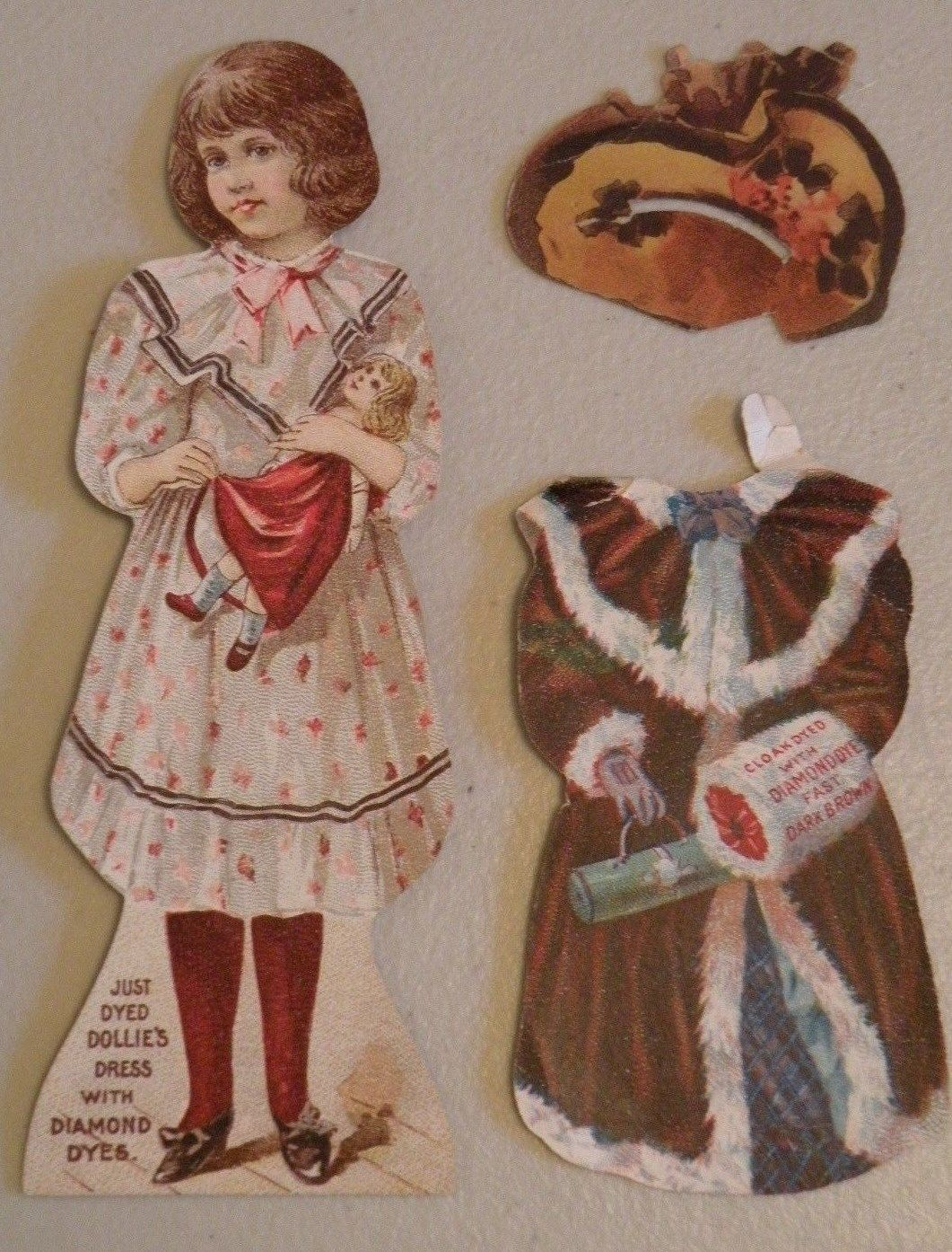 6f4f73a9ecf Antique Victorian Paper Doll w Outfit Hat Advertising Trade Card Diamond  Dyes