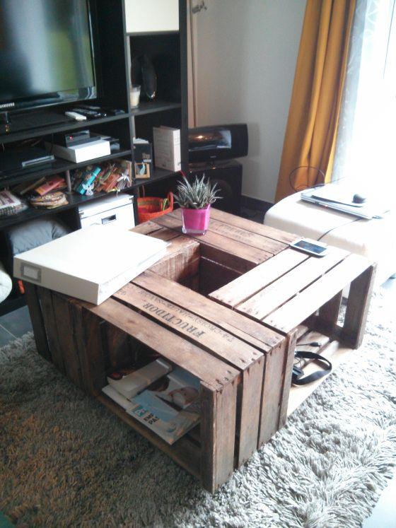 Diy Table Basse Table Basse Caisse Pomme Deco Maison