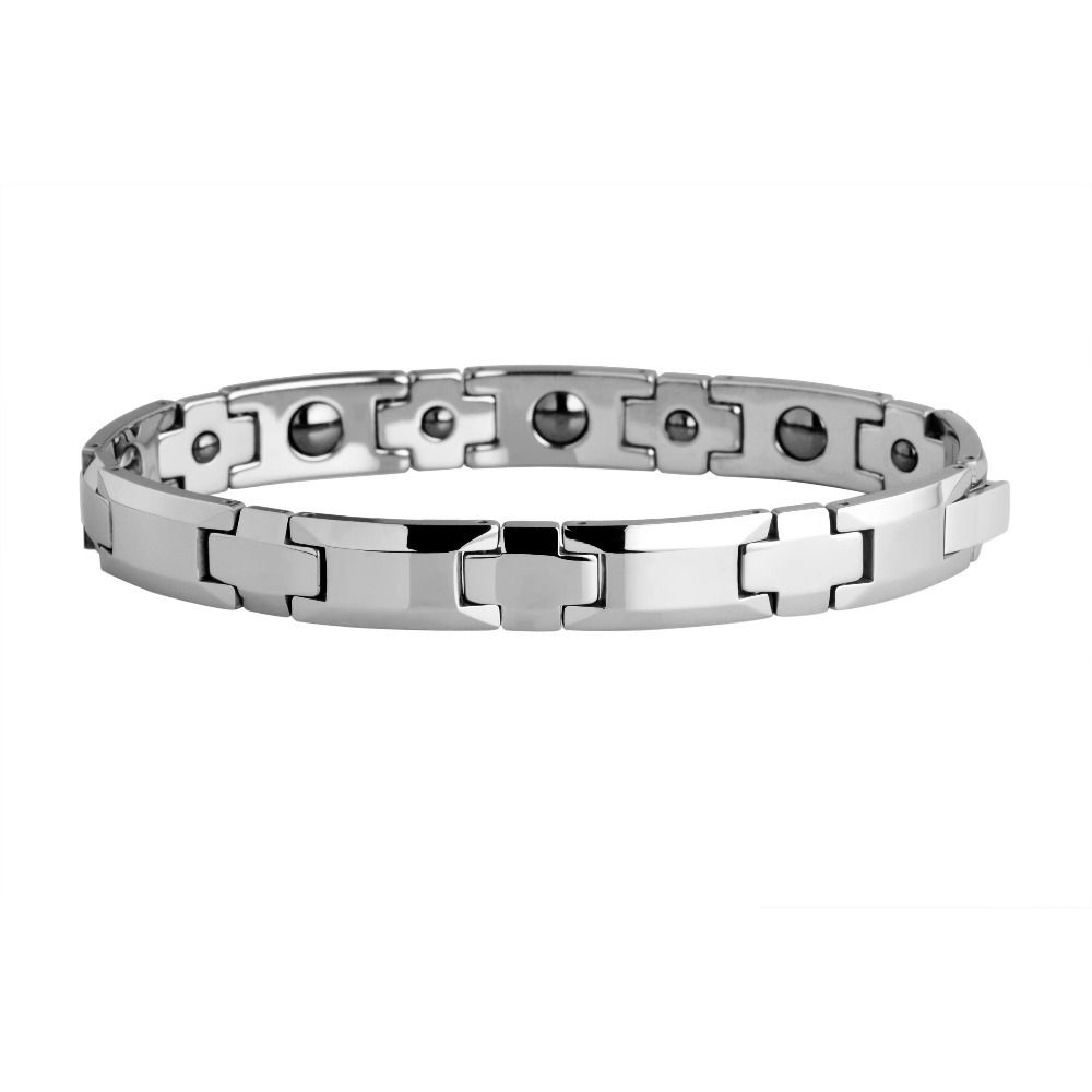 Man tungsten carbide polish with germanium magnetic link bracelet